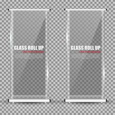 Transparent Roll Up business brochure, flyer, vertical glass banner