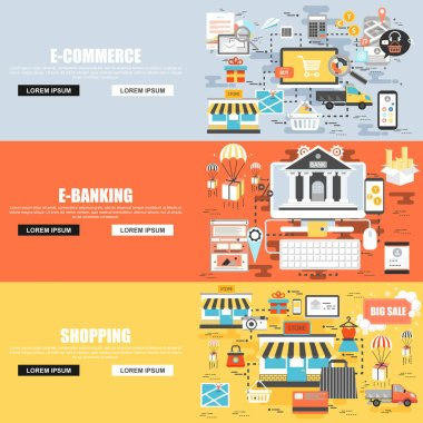 Flat concept set of e-commerce, shop and shopping