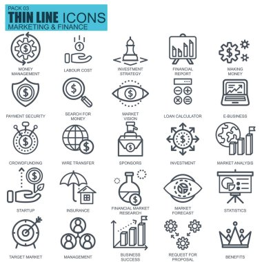 Thin line marketing and finance icons