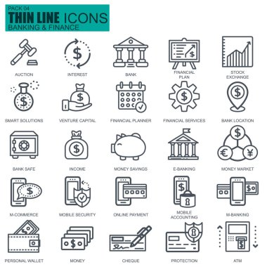 Thin line banking and finance icons