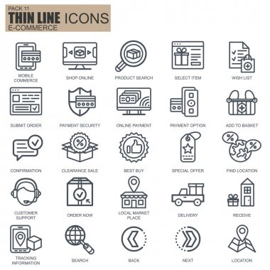Thin line web shopping and e-commerce icons