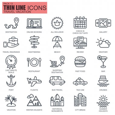 Thin line travel and tourism, for travel agencies, types of transport icons