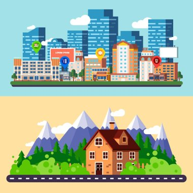 Flat city and forest landscapes banners
