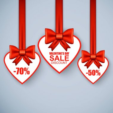 Valentines day heart sale tag,