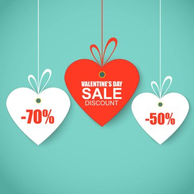 Valentines day heart sale tags,