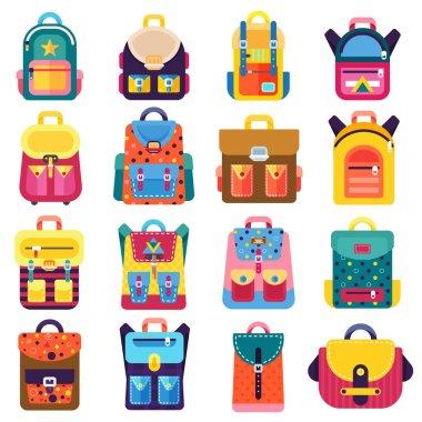 set of colorful backpacks