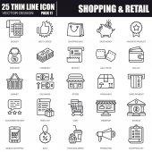 Fotografie Dünne Linie online-shopping und Einzelhandel Symbole