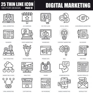 Thin line digital marketing icons