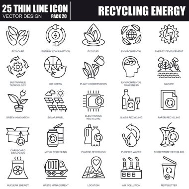 Thin line recycling icons set