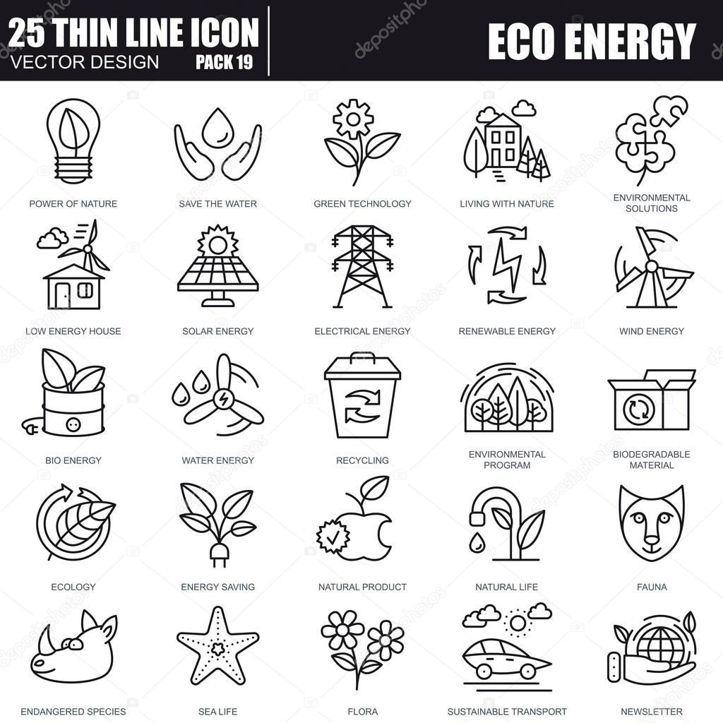Eco energy line icons