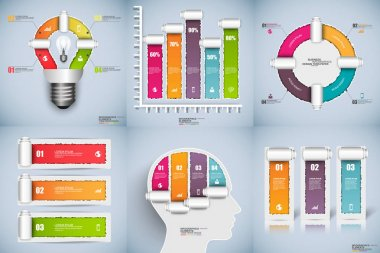 Infographic torn paper data visualization
