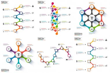 Set of timeline infographic data visualization