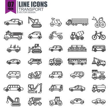 various transport icons set