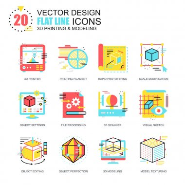 Flat line 3D printing and modeling icons concepts set for website and mobile site and apps. Volumetric object scanning, scaling technology. New style flat simple pictogram pack. Vector illustration. clip art vector