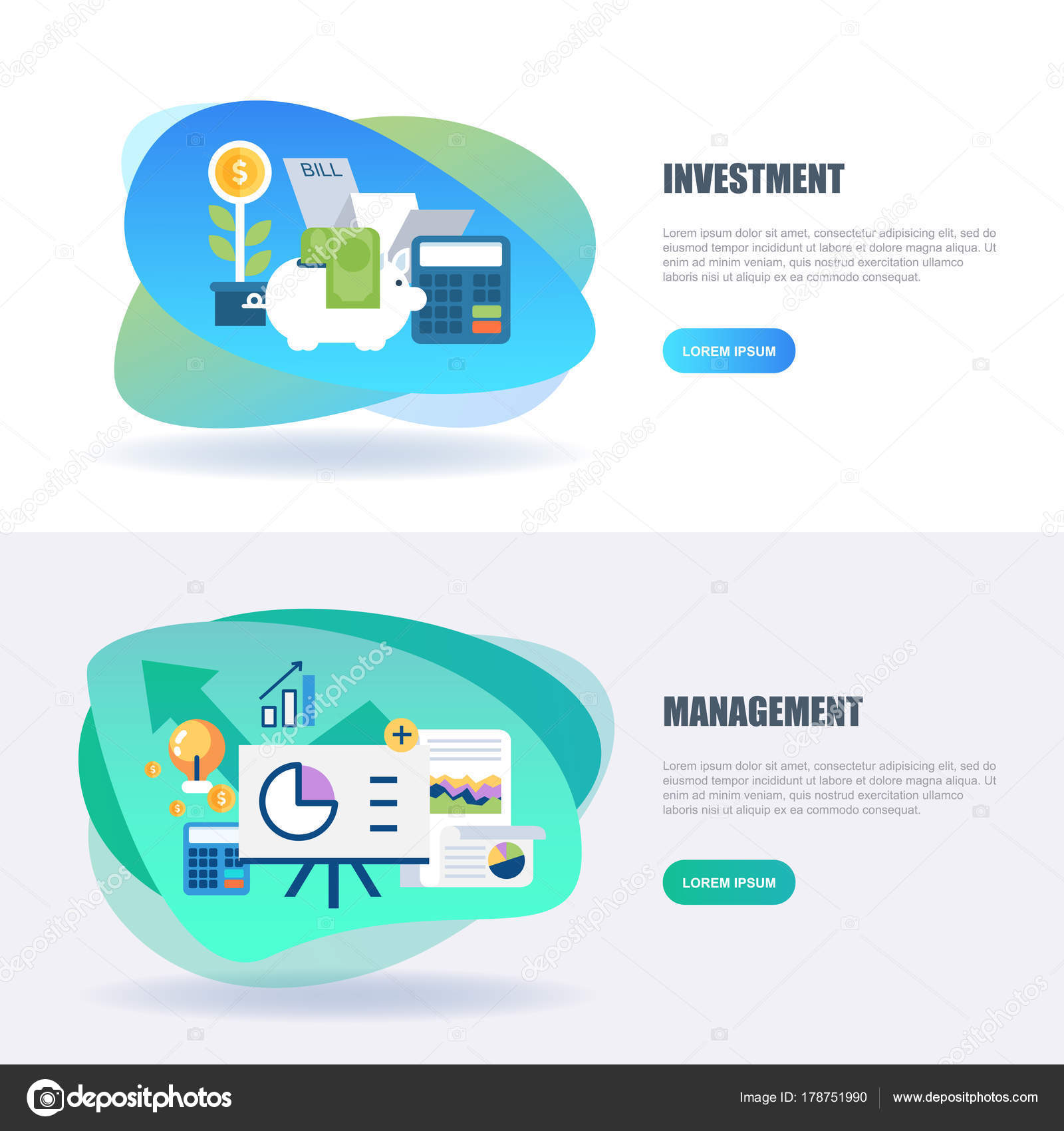 Flat Concept Web Banner Banking Finance Investment Market Research
