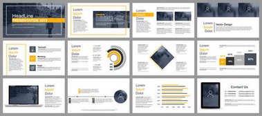 Yellow and black business presentation slides templates from infographic elements. Can be used for presentation, flyer and leaflet, brochure, marketing, advertising, annual report, banner, booklet