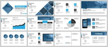 Blue and black business presentation slides templates from infographic elements. Can be used for presentation, flyer and leaflet, brochure, marketing, advertising, annual report, banner, booklet
