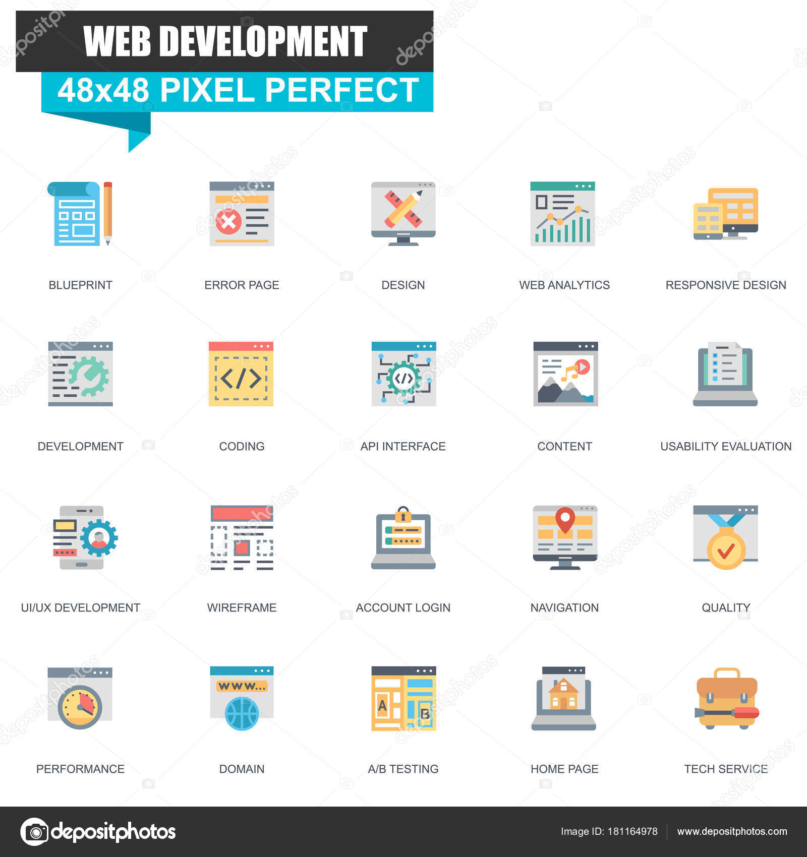 Modern flat web design development icons set website mobile site modern flat web design and development icons set for website and mobile site and apps contains such icons as blueprint navigation ui ux malvernweather Images