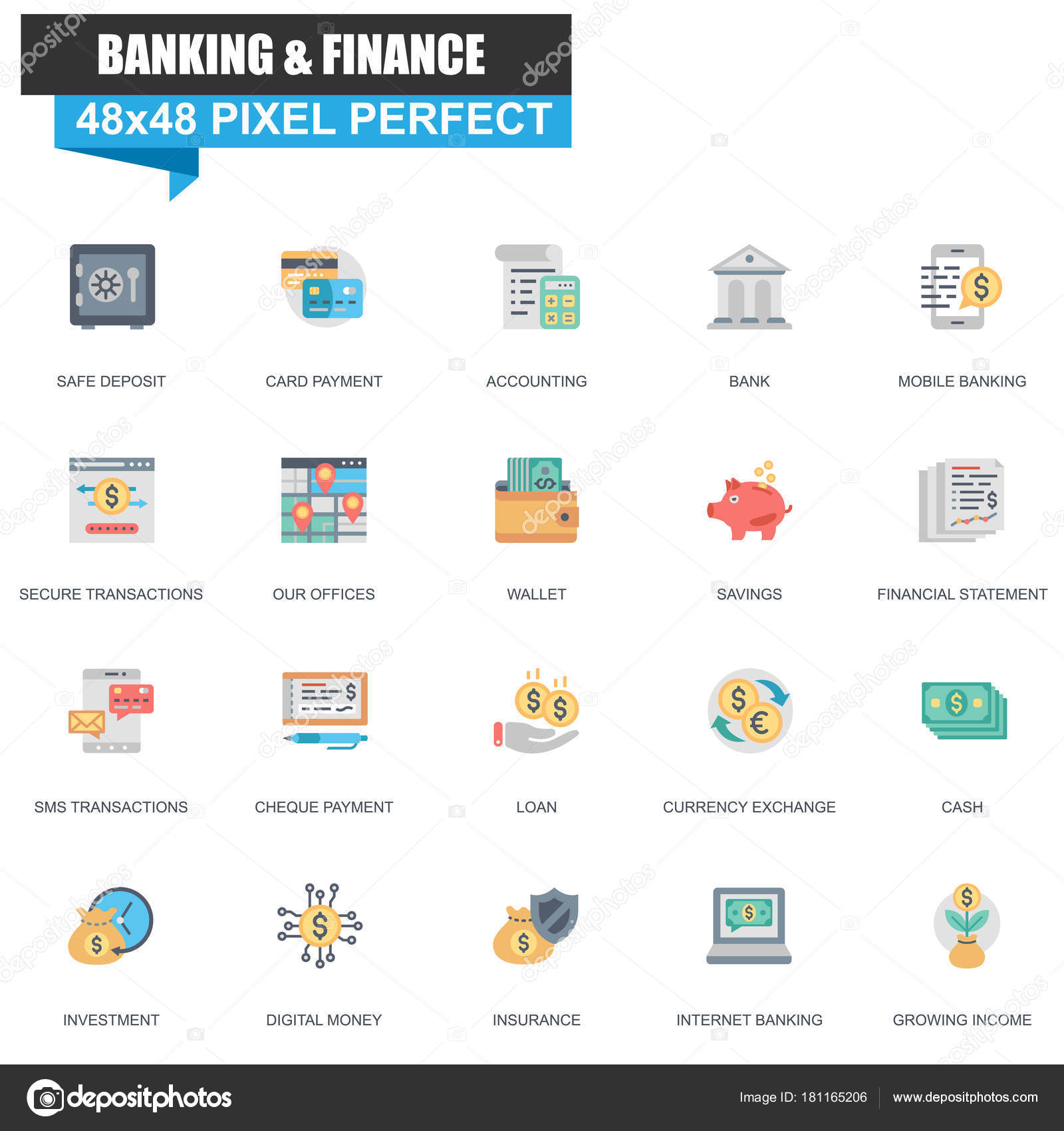 Modern Flat Banking Finance Icons Set Website Mobile Site Apps