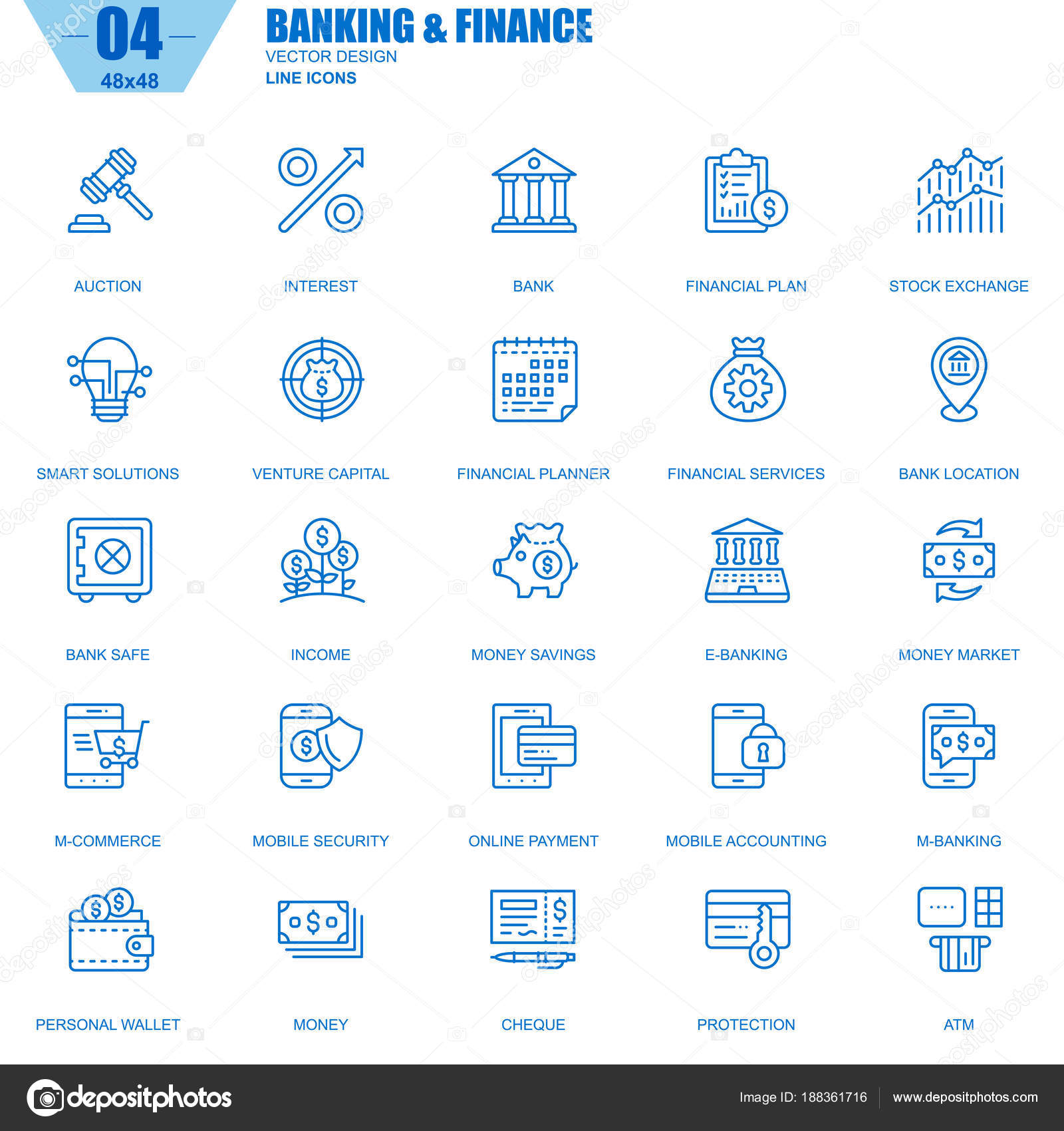 Thin Line Banking Finance Icons Set Website Mobile Site Apps — Stock