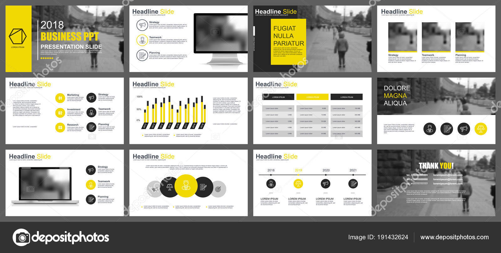 yellow black business presentation slides templates infographic
