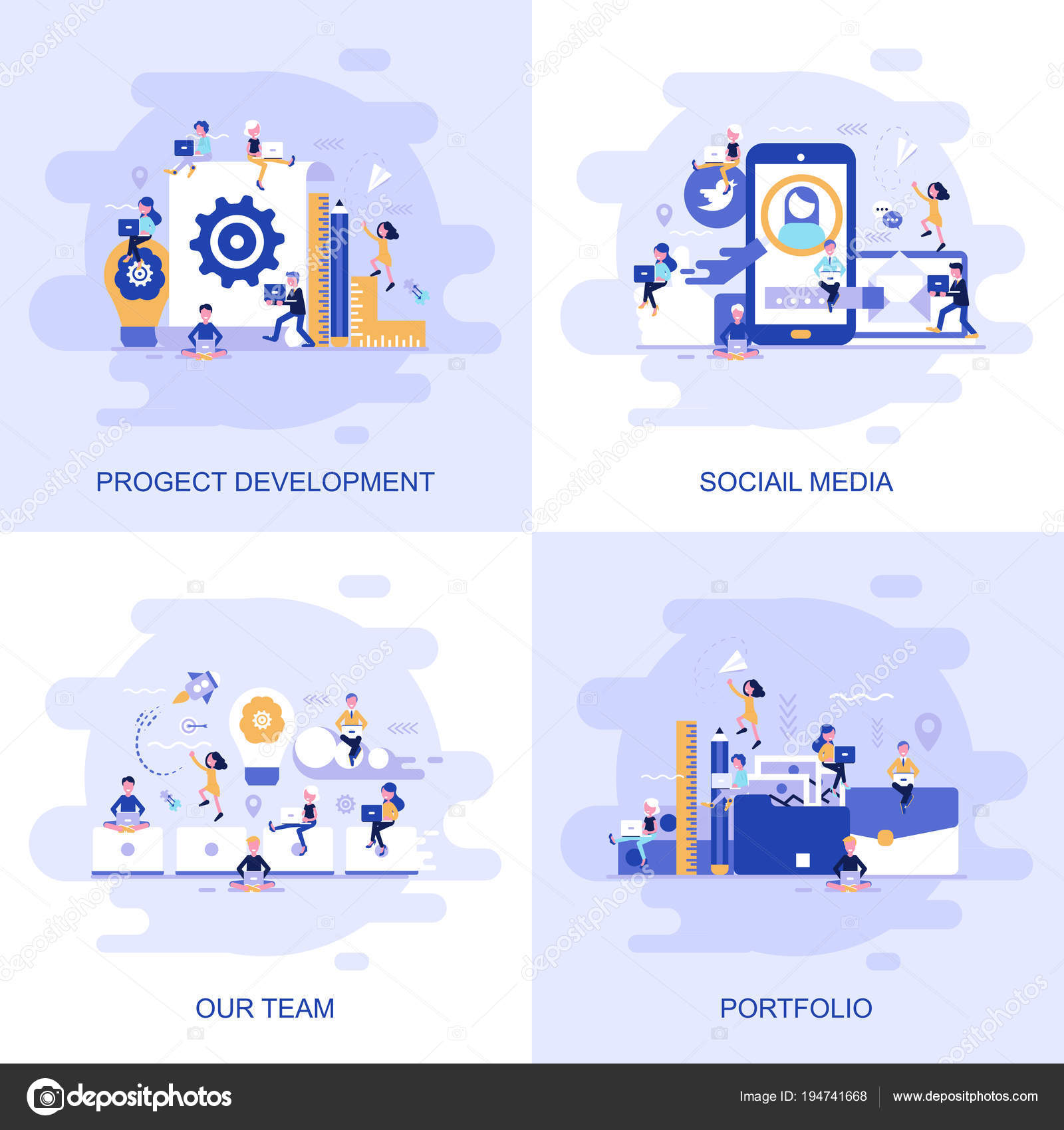Modern flat concept web banner of Social Media, Our Team, Portfolio