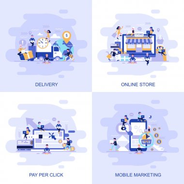 Modern flat concept web banner of Online Store with Pay Per Click and Mobile Marketing with Delivery with decorated small people characters, vector, illustration
