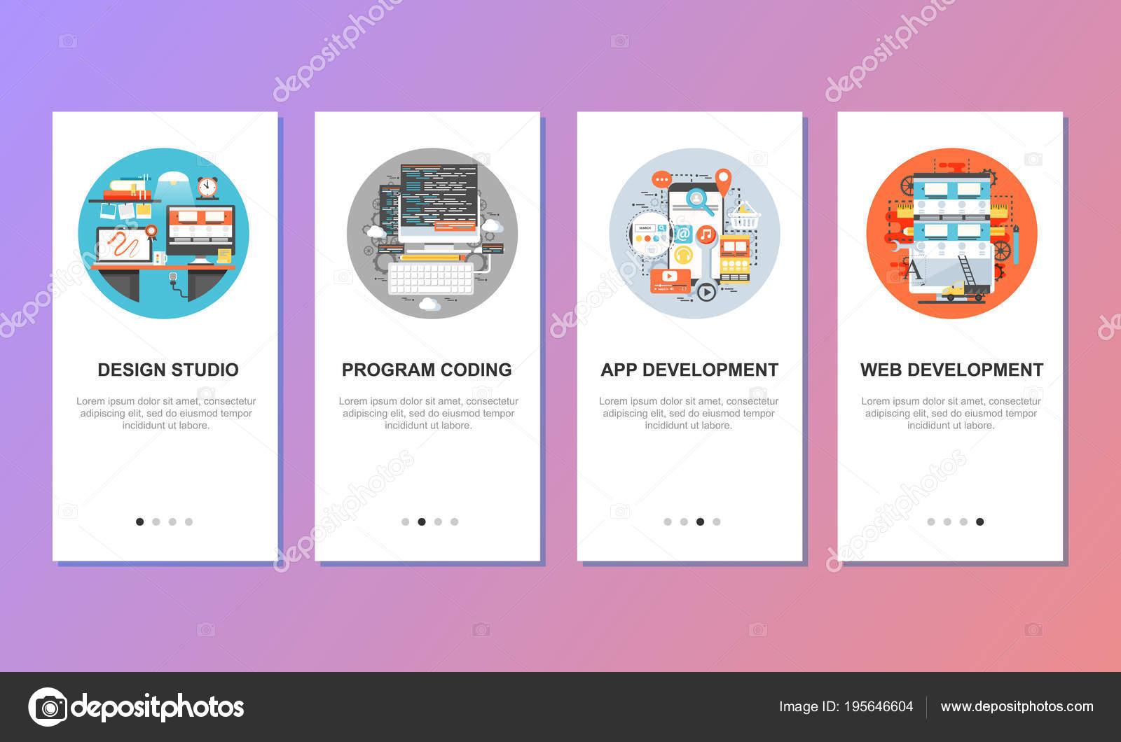 Onboarding-Bildschirme für mobile app-Vorlagen-Konzept — Stockvektor ...