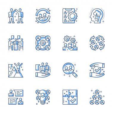 Employment service, team building linear vector icons set. Headhunting, job candidates searching contour symbols isolated pack. Teamwork and collaboration. Company organization contour illustrations icon