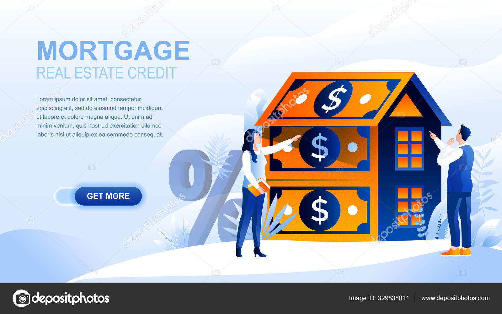 Mortgage Flat Landing Page With Header Banner Vector Template Loan To Buy Real Property Real Estate Housing Accomodation Website Layout People Cartoon Characters House Made Of Dollar Banknotes Stock Vector C