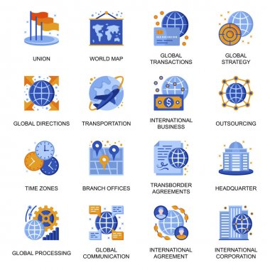 Global business icons set in flat style. Transborder agreement, world transportation and communication, time zones, outsourcing company signs. International corporation pictograms for UX UI design. icon