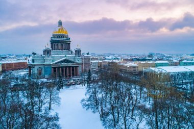 Saint Petersburg. Russia. St. Isaac's Cathedral view from the drone. Snow in Russia. Center winter St. Petersburg. Orthodox. Isakievsky sobo in the winter. Guide to Russia. Attractions Petersburg.