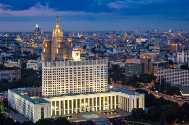 Russia. Moscow at night. Government House of the Russian Federation. Moscow skyline. Panorama of Moscow aerial view. The capital of Russia with a quadcopter. Bus tours. Twilight over the city.