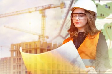 A young girl in a white helmet with drawings in her hands. Girl on the background of the construction site and the terrain plan. A woman works as a civil engineer. stock vector