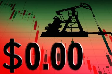Crisis in the oil industry. Oil rig on the background of the chart and the price of zero dollars. Critical drop in oil prices. Collapse of the petroleum market. stock vector