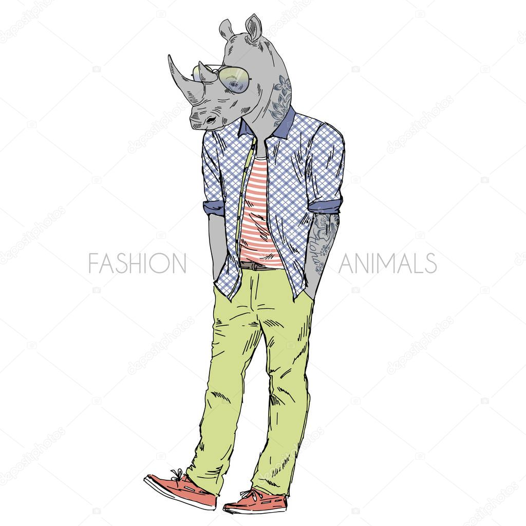 rino dressed up in casual style
