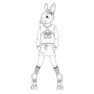 cute bunny girl on roller skates