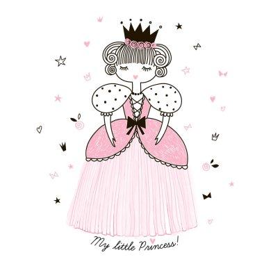 Cute little princess, doodle nursery illustration stock vector