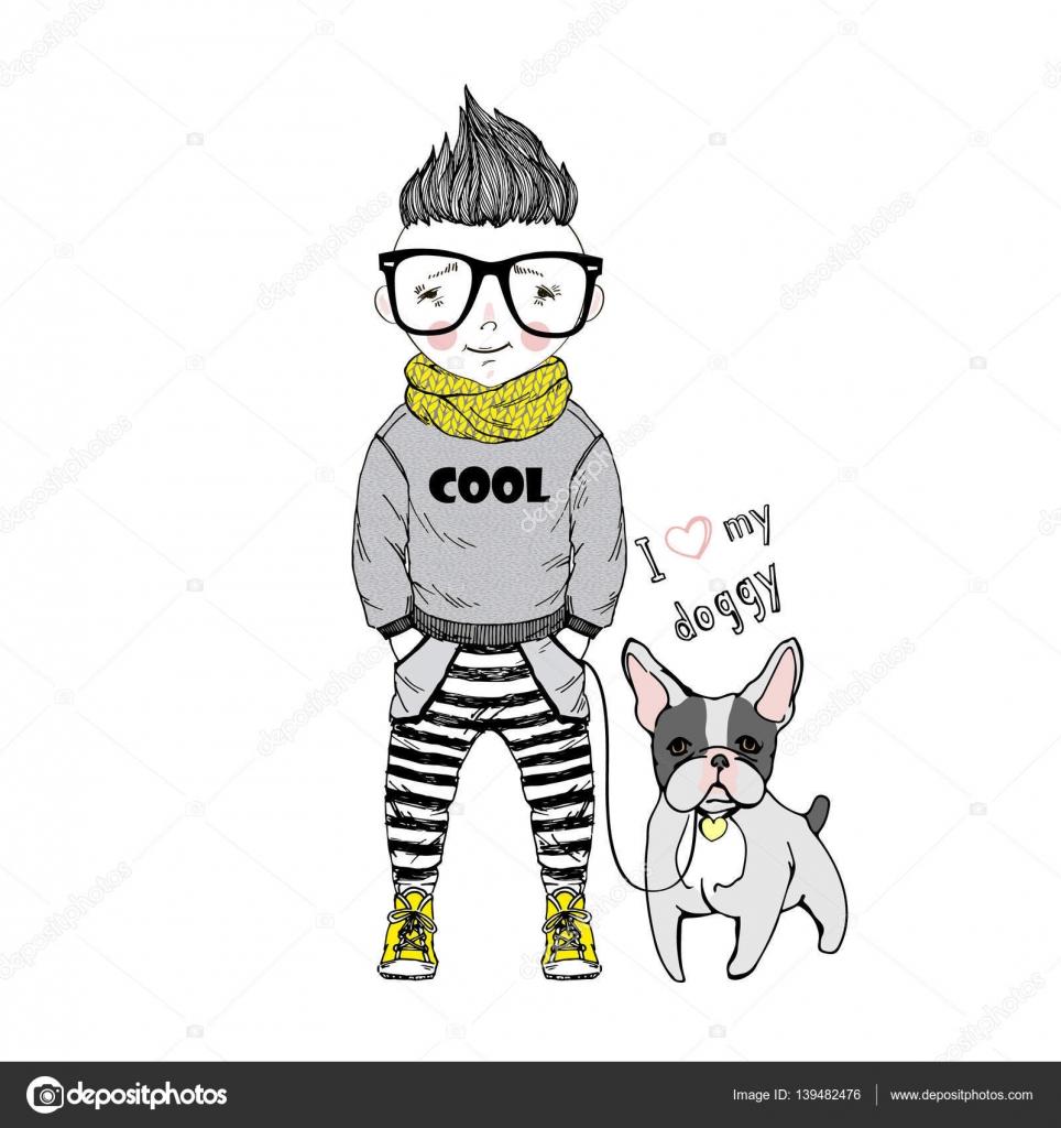 Ragazzo di cartone animato con cane u vettoriali stock olga