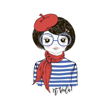 french chic cartoon girl