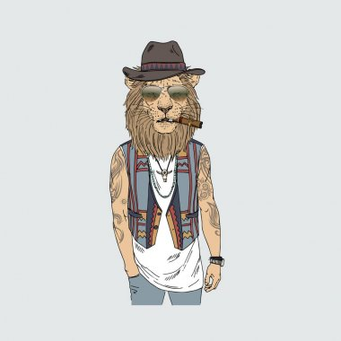 lion dressed up in boho style
