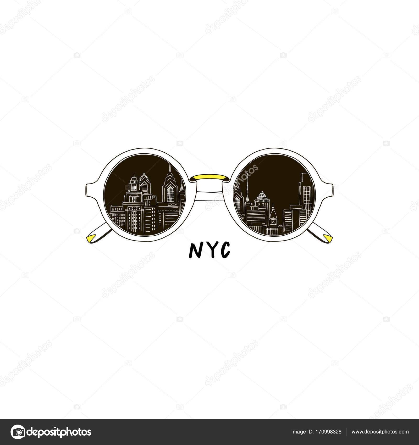 9e313d2a Okulary przeciwsłoneczne z New York city odbicie — Grafika wektorowa ...