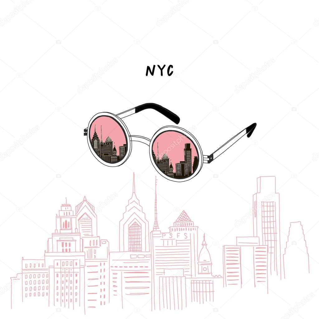 sunglasses with New York city reflection