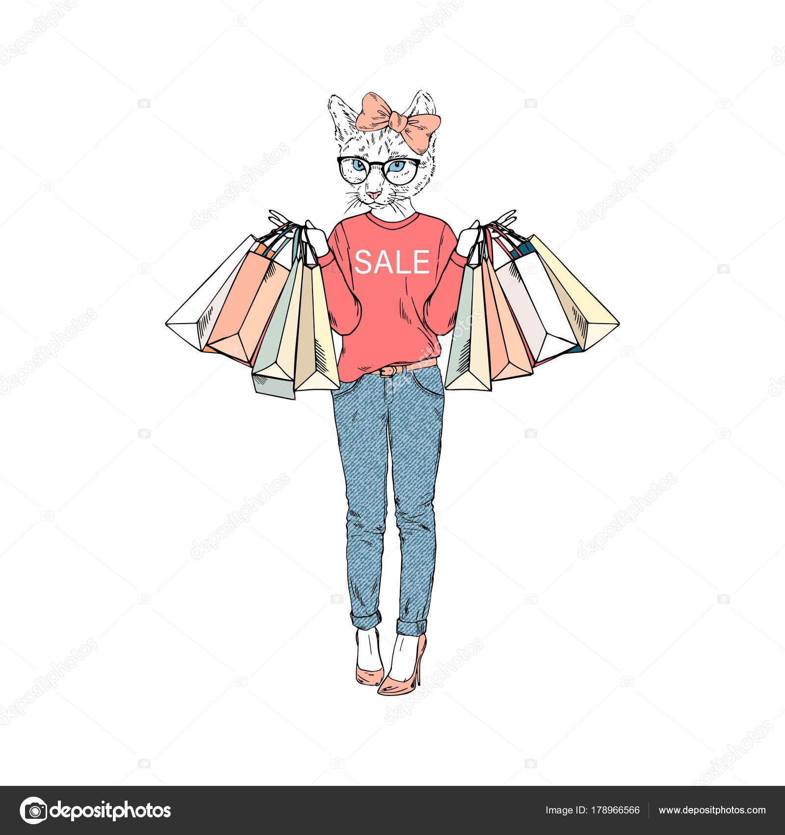ショッピング バッグ 擬人化された動物のイラストでかわいい雌猫