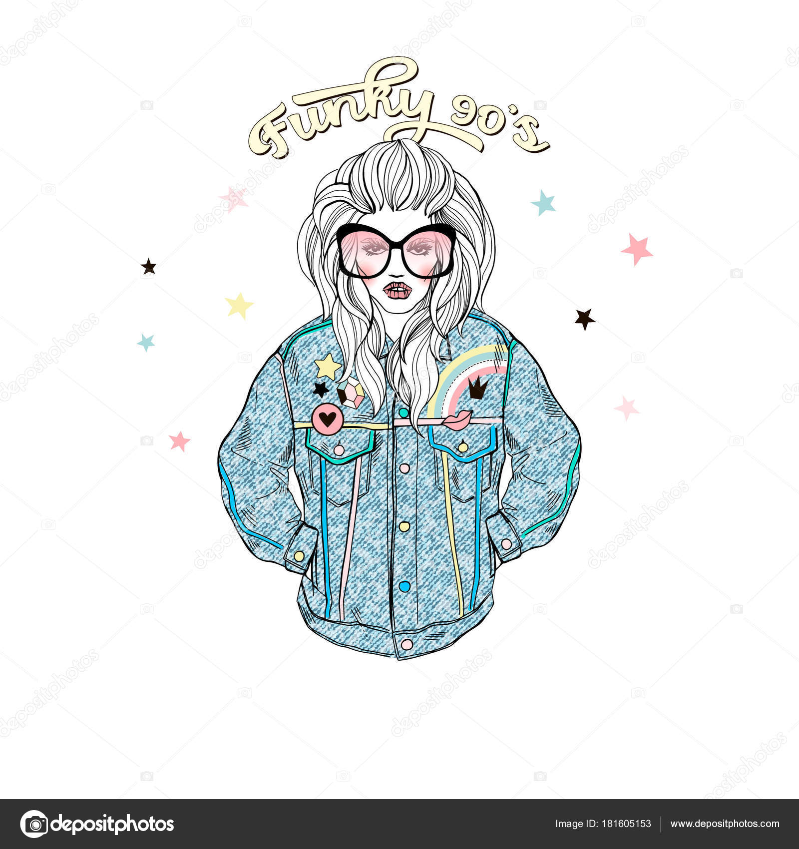 Fashion Illustration Girl Wearing Retro Denim Jacket Stock Vector