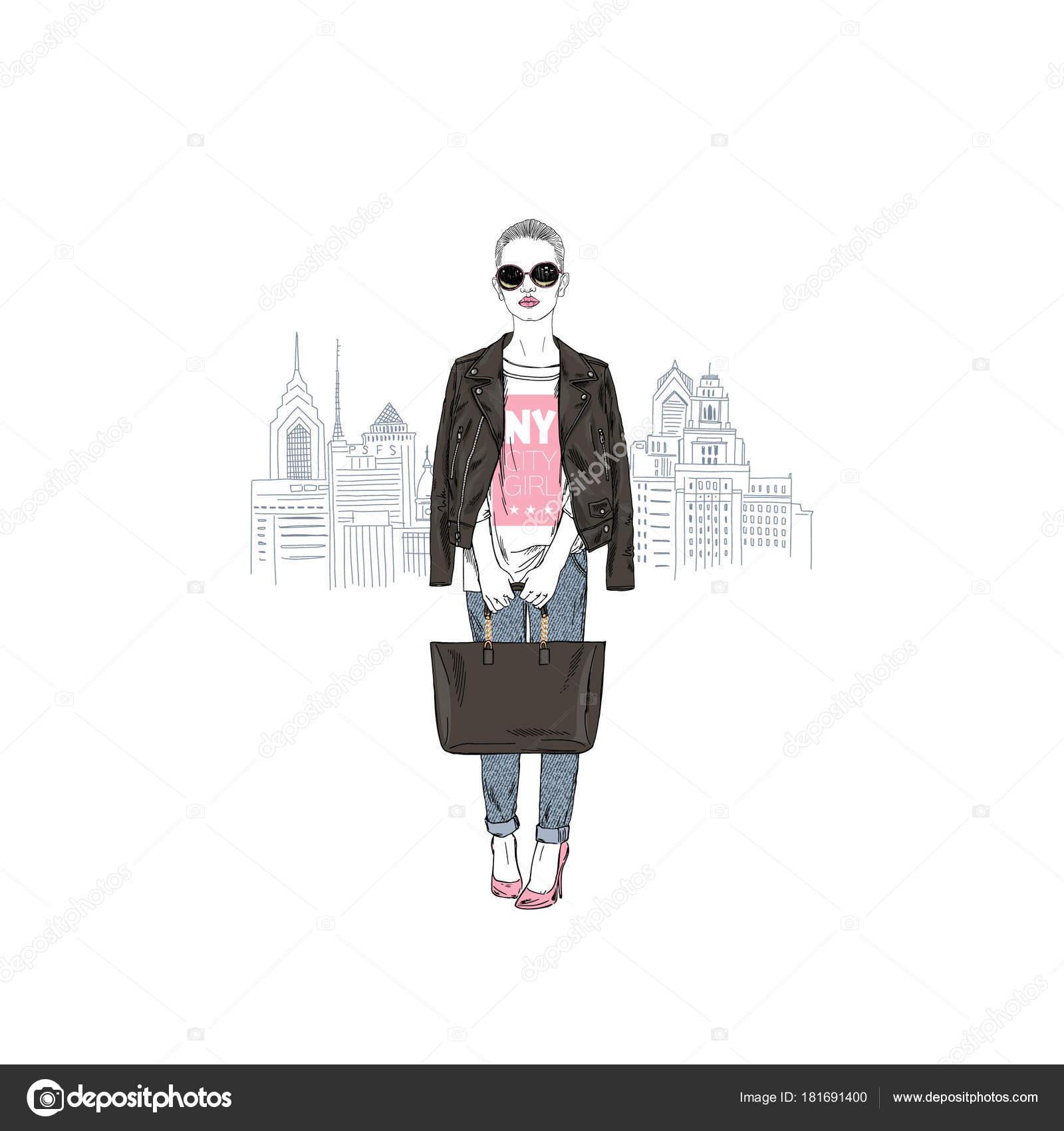 ニューヨークの女の子 ファッションイラスト ストックベクター Olga