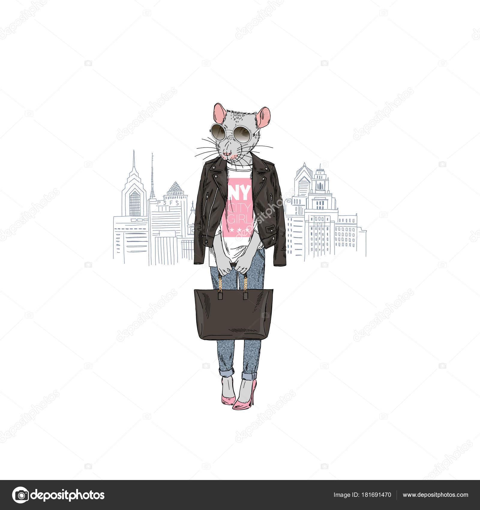 ニューヨーク市 擬人化された動物イラストからラット女の子 ストック