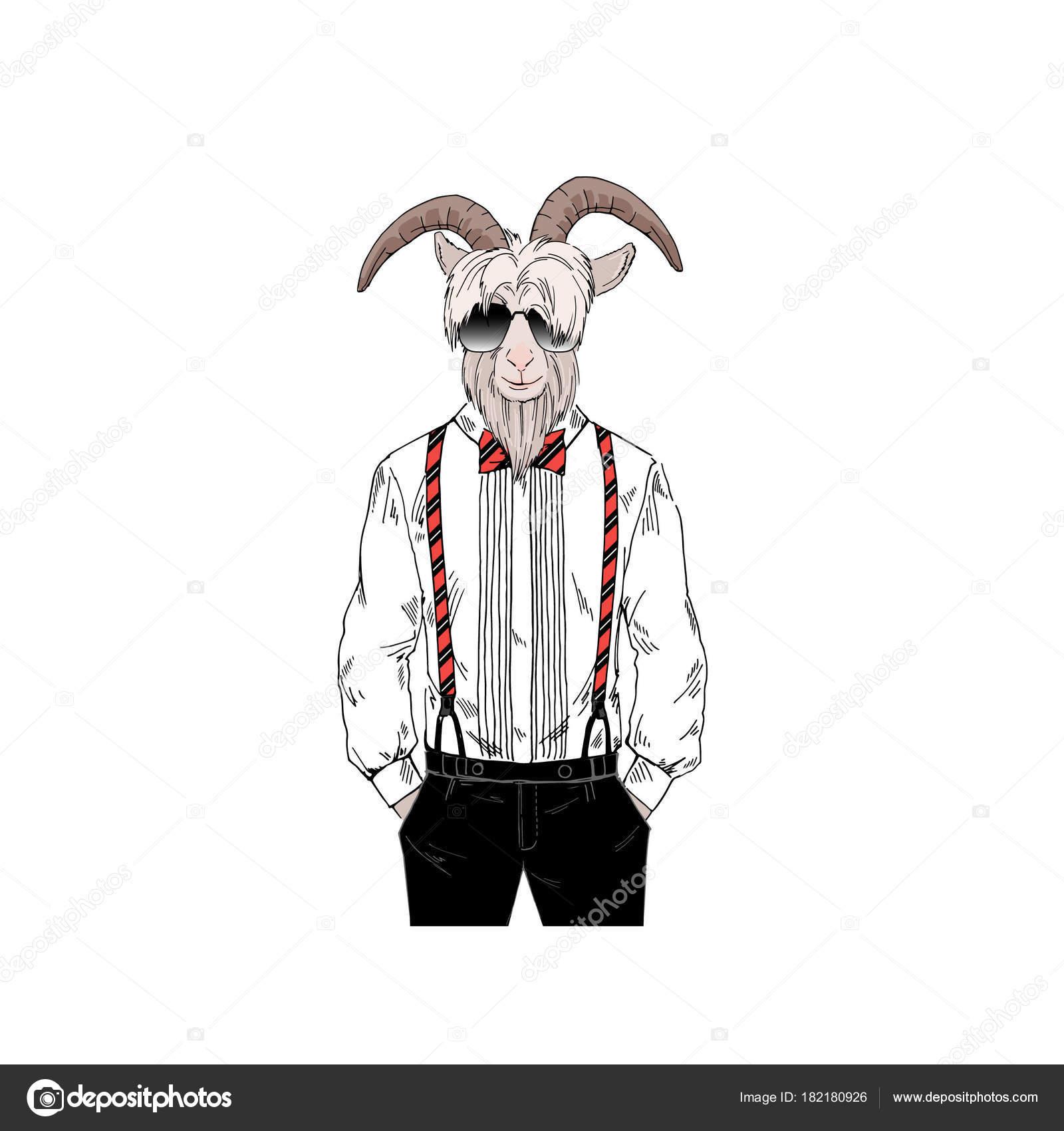 ひげを生やしたヤギ男眼鏡 擬人化された動物イラストでレトロなスタイル