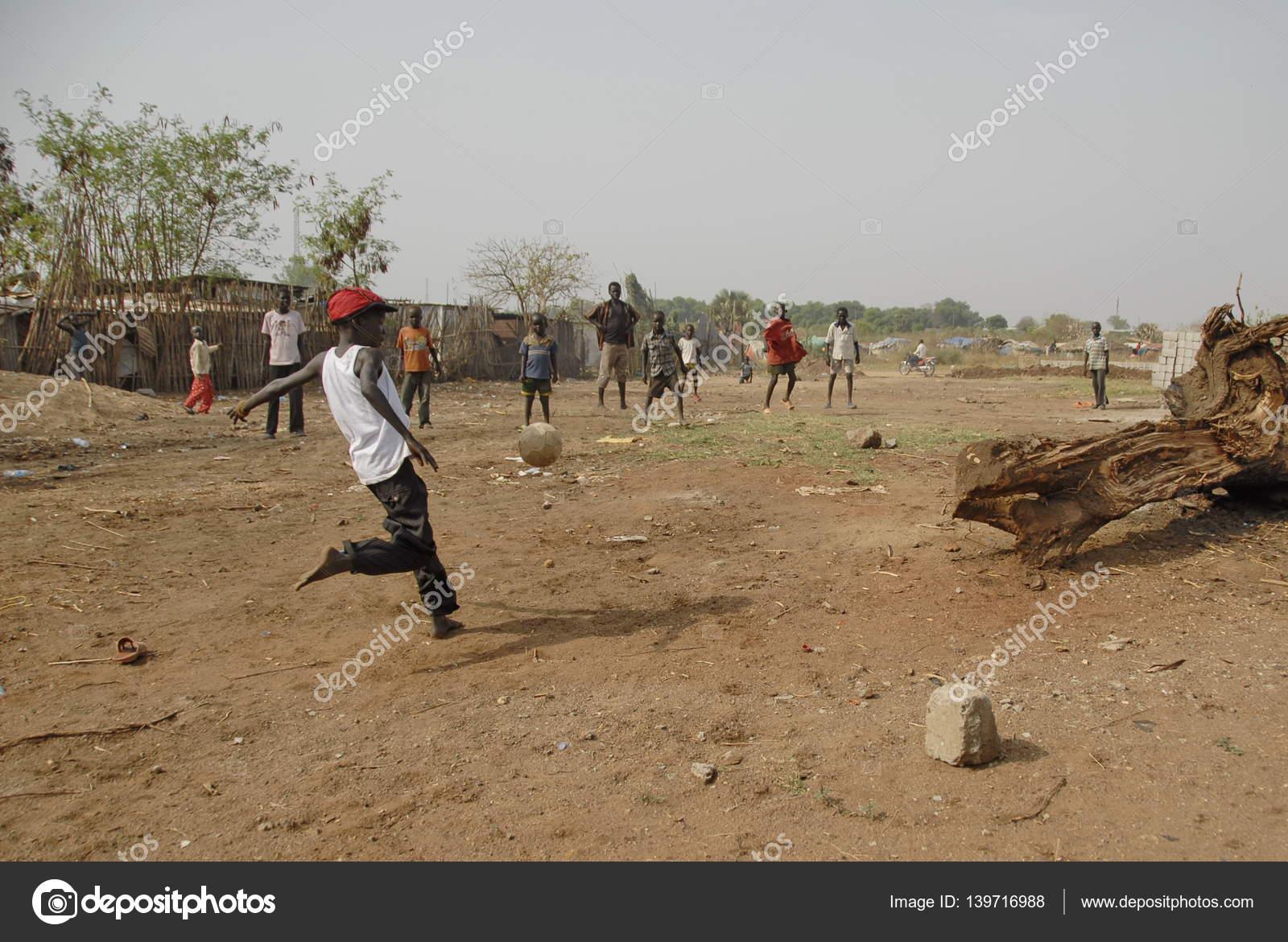 Kids play on a street of Juba, South Sudan  – Stock Editorial Photo