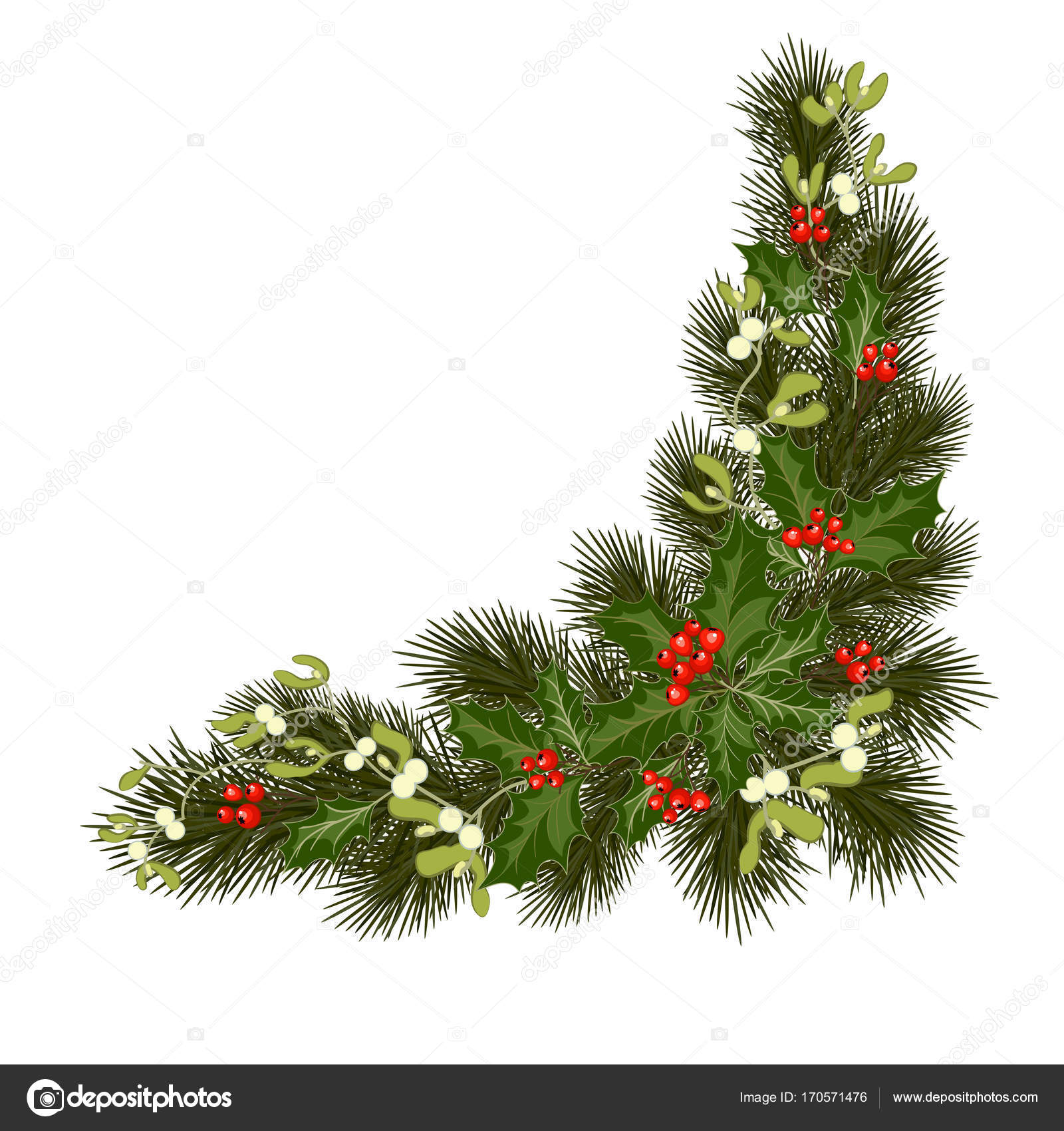 Christmas Decorations With Holly And Red Berries Stock Vector